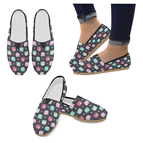 Multi InterestPrint On Casual 10 Canvas Fashion Sneakers Loafers Slip Shoes Womens Flats Classic Wan6CZHW