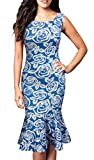 FORTRIC Women Sleeveless Fishtail Floral Summer Work Bodycon Party Causal Dress Blue M