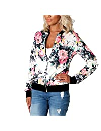 Womens Casual Floral Quilted Lightweight Jacket Short Bomber Jacket Coat