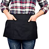 3 Pockets Waist Apron Black - Restaurant Bistro Bartender Half Aprons, Money and Check Holder Apron for Men and Women by Cove 8 (1)