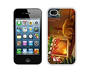 Iphone 4S Case,Dog With Christmas Red Stocking Durability Apple Iphone 4 4s Silicone White Case