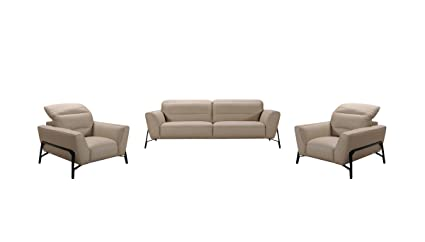Divani Casa Evora Modern Taupe Leather Sofa U0026 Chair Set Earth Tone