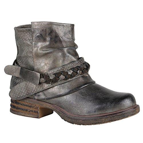 Stiefelparadies Flechte Schnallen Nieten mit Blockabsatz Damen Biker Boots Flandell Stiefeletten Metallic Grau rrFPq
