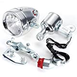 SODIAL Cycling Dynamo Powered Headlight and Rearlight Bike Tail Light Bike Light Set Dynamo-Powered
