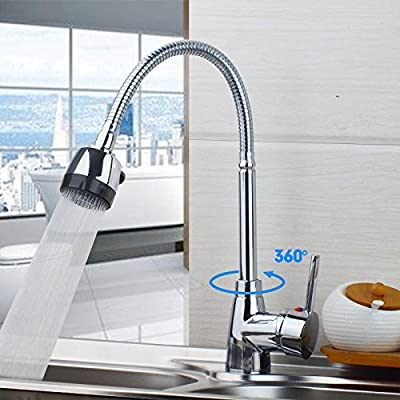 Yanksmart(TM) 360 Degree Swivel Spray Kitchen Hot and Cold Water Mixer Single Handle Kitchen Sink Tap Faucet with Multifunctional Spray, Chrome R87490