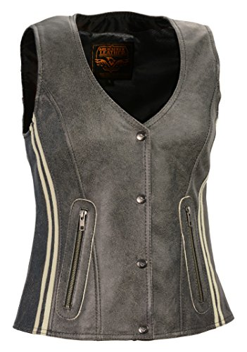 (Milwaukee Leather Women's Snap Front Vest with Clear Strip (Grey, XX-Large))