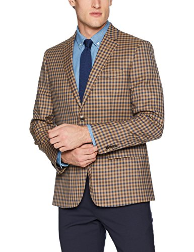 Ben Sherman Men's Multi tan Check Sport Coat, 36 Regular