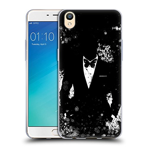 Official Aron Art Butterfly Black And White Gentleman Soft Gel Case for Oppo R9 / F1 - Black Aron