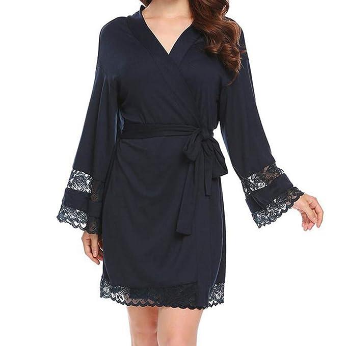 Juleya Ropa de Noche Kimono Batas Ropas Modal Robe Pijamas Batas de baño Mujer Sexy Robe Kimono Azul Marino 2XL: Amazon.es: Ropa y accesorios