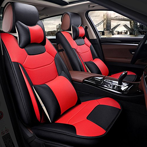 Super PDR 13pcs Auto Car Seat Covers Full Set 5 Seats Luxury PU Leather Airbag Compatible for Most Auto,SUV,3D Model Design (Black& Red, L) (Best Luxury Suv For 3 Car Seats)
