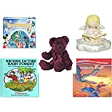 Girl's Gift Bundle - Ages 6-12 [5 Piece] - World of Disney Eye Found It Board Game - Cutie Patootie Storytime Angel Figurine - TY Attic Treasures Barrymore The Bear - Riches in the Rain Forest: An A