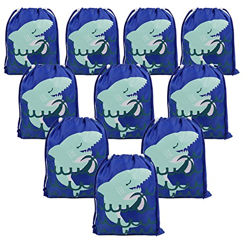 Shark Party Supplies Favors Bags for Kids Boys Girls, 10 Pack Drawstring Goodie Treat Bags for Birthday Party Gifts -