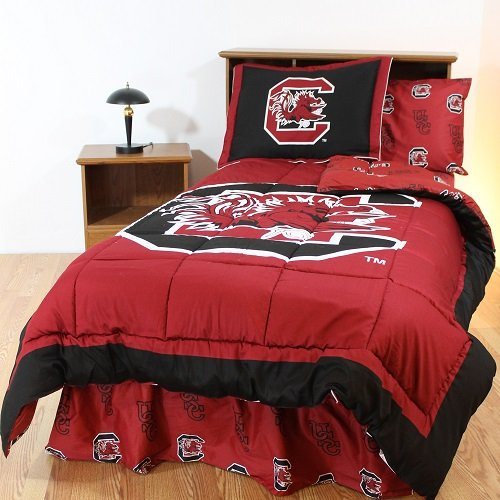 South Carolina Gamecocks 8 pc. FULL Size Bed in a Bag Comforter Set - Includes: (1) FULL Size Reversible Comforter, (2) Shams, (1) Flat Sheet, (1) Fitted Sheet, (2) Pillow Cases and (1) Bedskirt