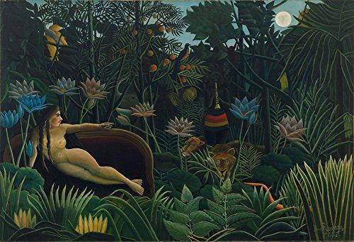 Henri Rousseau - Le Rêve, The Dream, Size 24x36 inch, Canvas Art Print Wall (Henri Rousseau Canvas Painting)