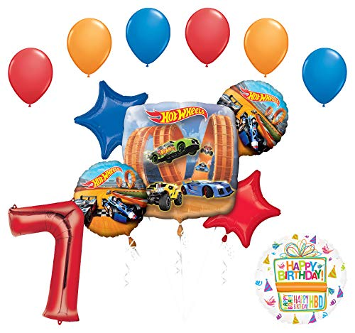 Mayflower Products Hot Wheels Party Supplies 7th Birthday Balloon Bouquet Decorations