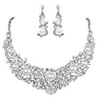 EVER FAITH® Flower Ribbon Ivory Color Cream Simulated Pearl Austrian Crystal Necklace Earrings Set