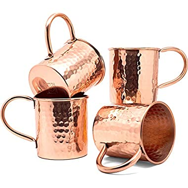 Coppertisan Moscow Mule Copper Mugs Set of 4 Classic Hammered - 16 Oz - Handmade of 100% Pure Copper - Best Moscow Mule Mugs with Moscow Mule Recipes