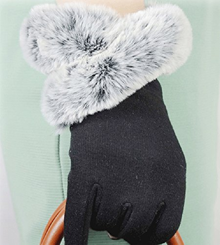 X&F Women's Elegant Touchscreen Mitten Winter Texting Gloves with Fur, Small, Black