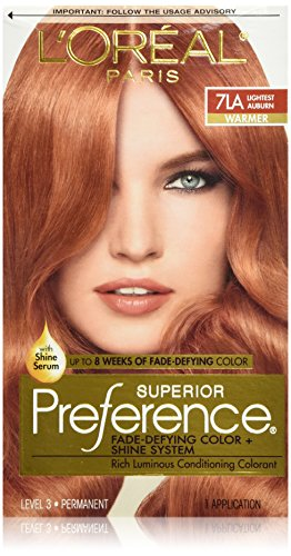 L'Oreal Paris Superior Preference Fade-Defying Color + Shine System, 7LA Lightest Auburn(Packaging May Vary)