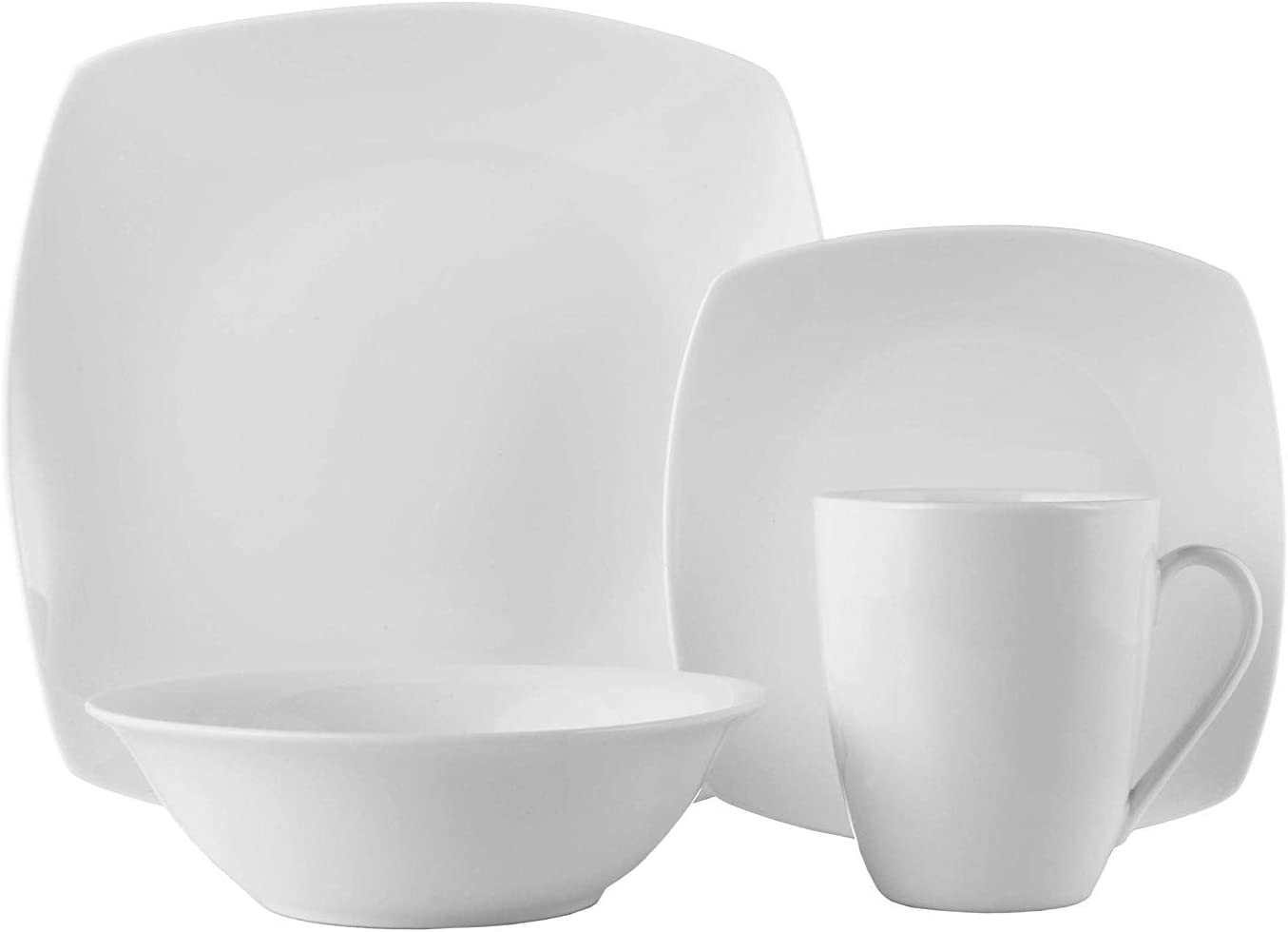 Souelle 32-piece Fine Bone China Dinnerware Set | White Kelsey Design – Microwave and Dishwasher Safe – Service for 8 – Includes Dinner Plates, Salad Plates, Bowls, and Cups
