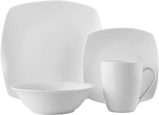 Amazon.com: Souelle - Vajilla de porcelana fina, 16 piezas ...