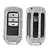 Product review for [M.JVisun] Handmade Car Key Fob Cover For Honda 2 / 3 / 4 Buttons Remote Key Engine Start Stop , Diamond Car Key Case Cover Skin , Aircraft Aluminum + Genuine Leather + Bling Crystal - Silver