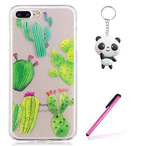 Coque iPhone 8 Plus,Jolie cactus Premium Gel TPU Souple Silicone Transparent Clair Bumper Protection Housse Arrière Étui Pour Apple iPhone 8 Plus + Deux cadeau