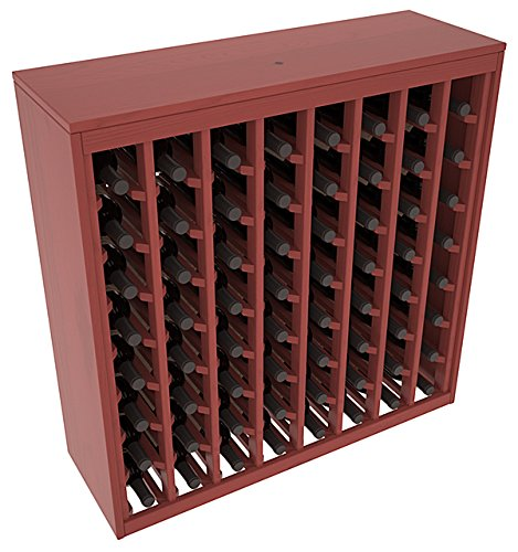 (Wine Racks America Ponderosa Pine 64 Bottle Deluxe. Cherry Stain + Satin)