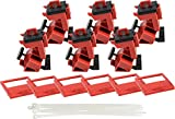 Brady Taglock Circuit Breaker Lockout Devices - 480/600 Volt Clamp-On Single-Pole Breaker Lockout Device with Detachable Cleat, No Lock Needed - Red - 148687 (Pack of 6)