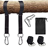 XGCMY Direct Tree Swing Straps Hanging Kit (Set of 2), Holds 2000 lbs,2Pcs 5ft Long Straps with Safety Lock Carabiners Carrying Bag and Perfect for Tire, Child Swing, Plank, Camping Hammock (Black)
