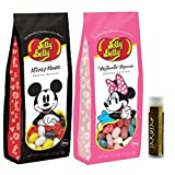 Jarosa's Gift Set of Jelly Belly Jelly Beans: 1 - Mickey Mouse & 1 - Minnie Mouse, 7.5 oz Each Bag with a Jarosa Bee Organic Chocolate Bliss Lip Balm