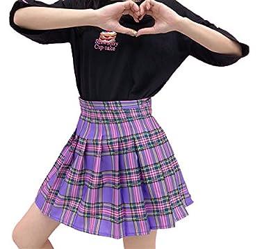Sweet Style Harajuku Purple Plaid Skirt 2018 Summer High Waist Pleated A-line Mini Skirt Women