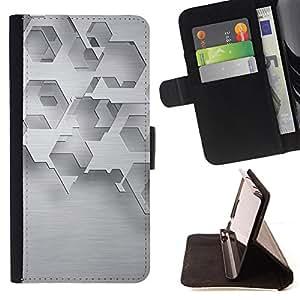 - Abstract Minimalist White Polygon - Estilo PU billetera de cuero del soporte del tir???¡¯???3n [solapa de cierre] Cubierta- For HTC One M8 ( Devil Case )