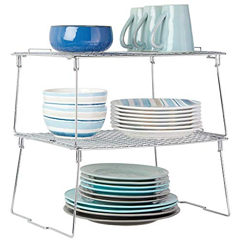 mDesign Metal Stackable Storage Shelf - 2 Tier Raised Food and Kitchen Organizer for Cabinets, Pantry Shelves, Countertops, Closet, 2 Pack, 12