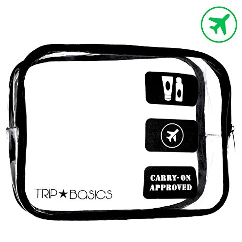 Trip Basics TSA Approved Toiletry Bag – 100% Compliant Travel Bag for Travel Size Toiletries Containers Liquids + Bottles | 3-1-1 Airport Airline Approved Clear Makeup Bag for Carry on Luggage