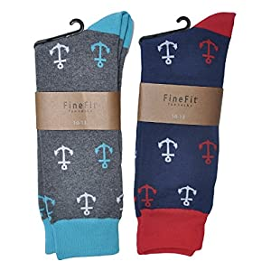 Fine Fit Mens Novelty Print Socks | 2 Pair Set | Trouser Socks | Casual | Crew