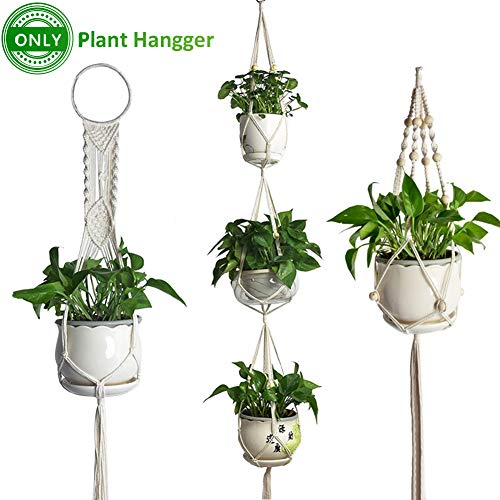 Creation Core 3 Pack Macrame Plant Hanger Indoor Outdoor Hanging Plant Holder Hanging Planter Basket Cotton Rope Flower Pots for Decorations