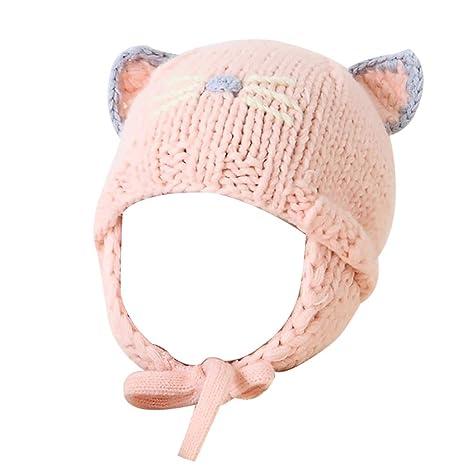 ab5f2e37cee Hosaire 1pc Bonnet bébé Chaud en Hiver Bonnet bébé en Laine Fait Main Chapeau  de Style