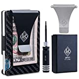 Minimalist Wallet for Men and Women & RFID Credit Card Holder| Ridge Wallet Carbon Fiber+ Stainless Steel Money Clip (Black & Silver), Extra Elastic Band &Screwdriver- Great Gift Idea by Arfkey