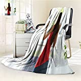 Luminous Microfiber Throw Blanket back view of a woman looking outdoors through a window and opening curtains at Glow In The Dark Constellation Blanket, Soft And Durable Polyester(60''x 50'')
