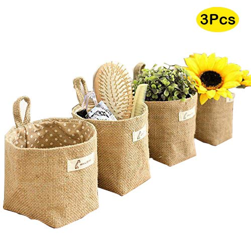 Velidy Hanging Linen Cotton Storage Basket Bag,Mini Collapsible Convenient Storage Bin with Handle,Home Organize Box(3Pack)