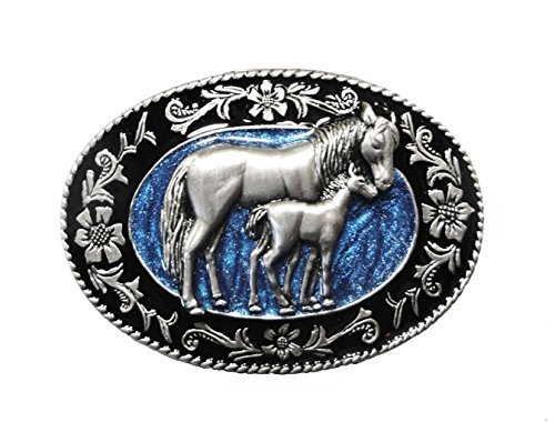 Women's SMALL PEWTER - SCULPTED MARE & FOAL BELT BUCKLE
