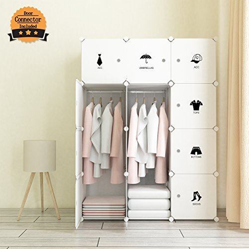 Best Prices! Tespo Portable Clothes Closet Wardrobe, Freestanding Bedroom Armoire Storage Cabinet Or...