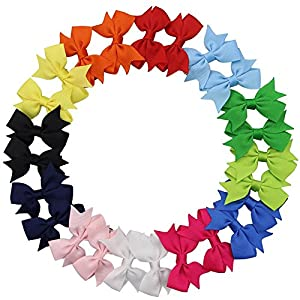 "QtGirl 24-40pcs 2"" Pinwheel Hair Bows Boutique Grosgrain Ribbon Pigtail Hairbows with Alligator Clips for Baby Girls Toddlers Kids in Pairs"