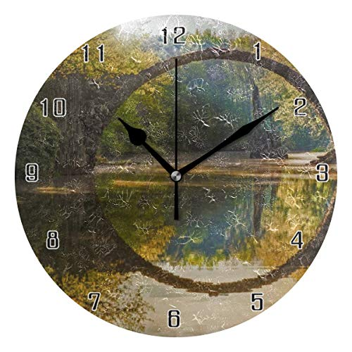 (MAISHING Garden Tree Pond Autumn Stone Arch Sun Rays Summer Plant Theme World Round Wall Clock Home Decor Clock Battery Operated Silent Non -Ticking Desk Clock for Home,Office,School (10 Inch))
