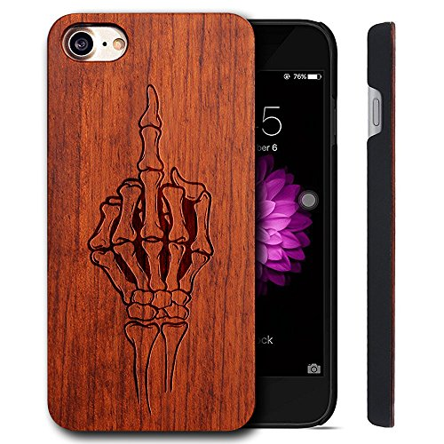 Funda Madera Tallada Protectora Cubierta para iPhone 7 Natural Wood Caja de PC Vintage Bumper Protector Carcasa para Apple iPhone 7 (4.7 inch) ROSE-Middle finger