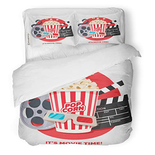 Semtomn Decor Duvet Cover Set Twin Size Movie Time Cinema on Red Round Composition Popcorn Clapperboard 3 Piece Brushed Microfiber Fabric Print Bedding Set Cover