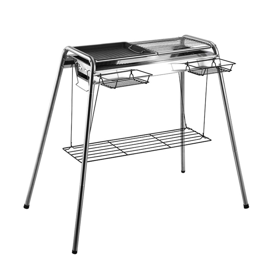 WANG XIN Stainless Steel Grill Outdoors for 5 Or More Household Charcoal Grill Field Tool Full Carbon Oven Shelf Silver