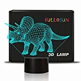 FULLOSUN Dinosaur 3D Illusion Night Light Triceratops Touch Table Desk Lamp, 7 Colors Optical USB LED Nightlight