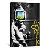 iCanvasART Sunflower Field Gas Mask Girl Black and White by Banksy Canvas Art Print, 27 by 19-Inch